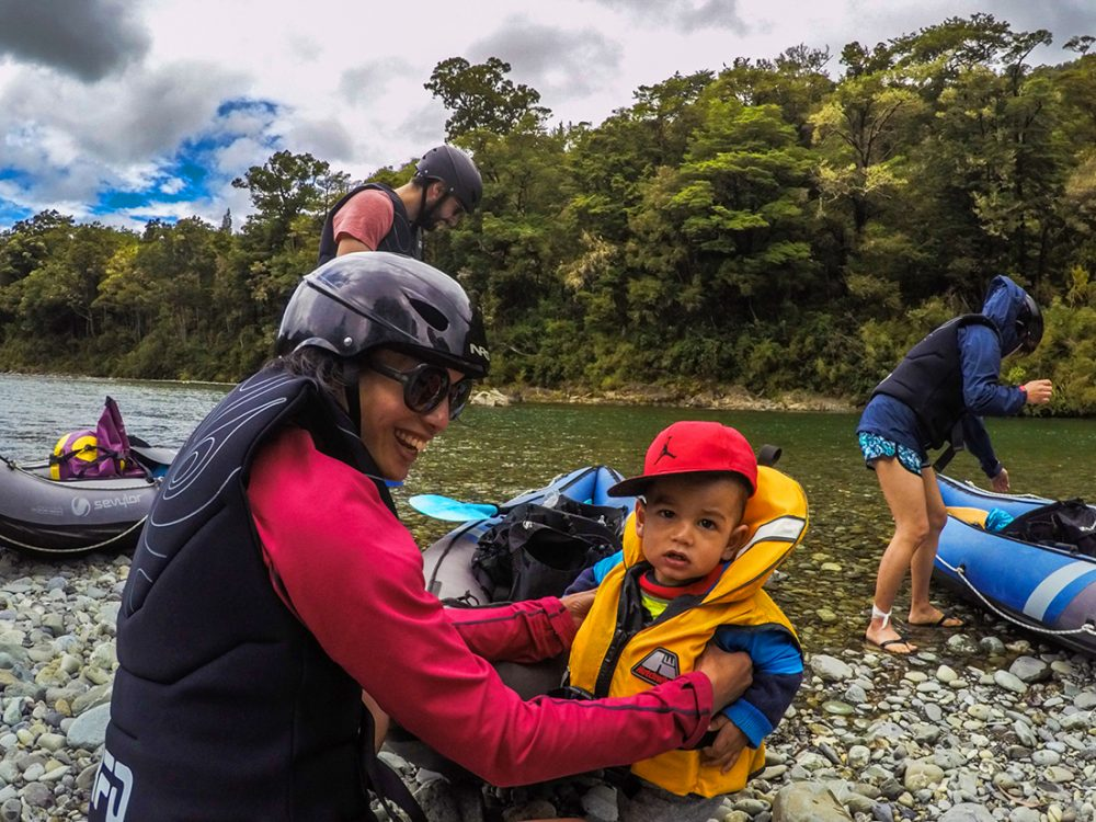 Baby Kayaking the Pelorus River in New Zealand