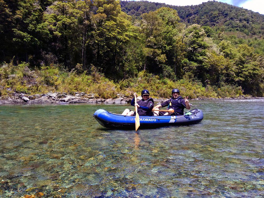 Friends Kayaking the Pelorus River in New Zealand