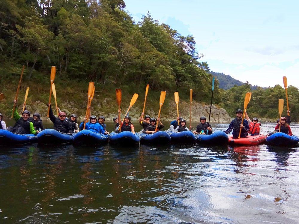 Group Kayaking on the Pelorus River, New Zealand