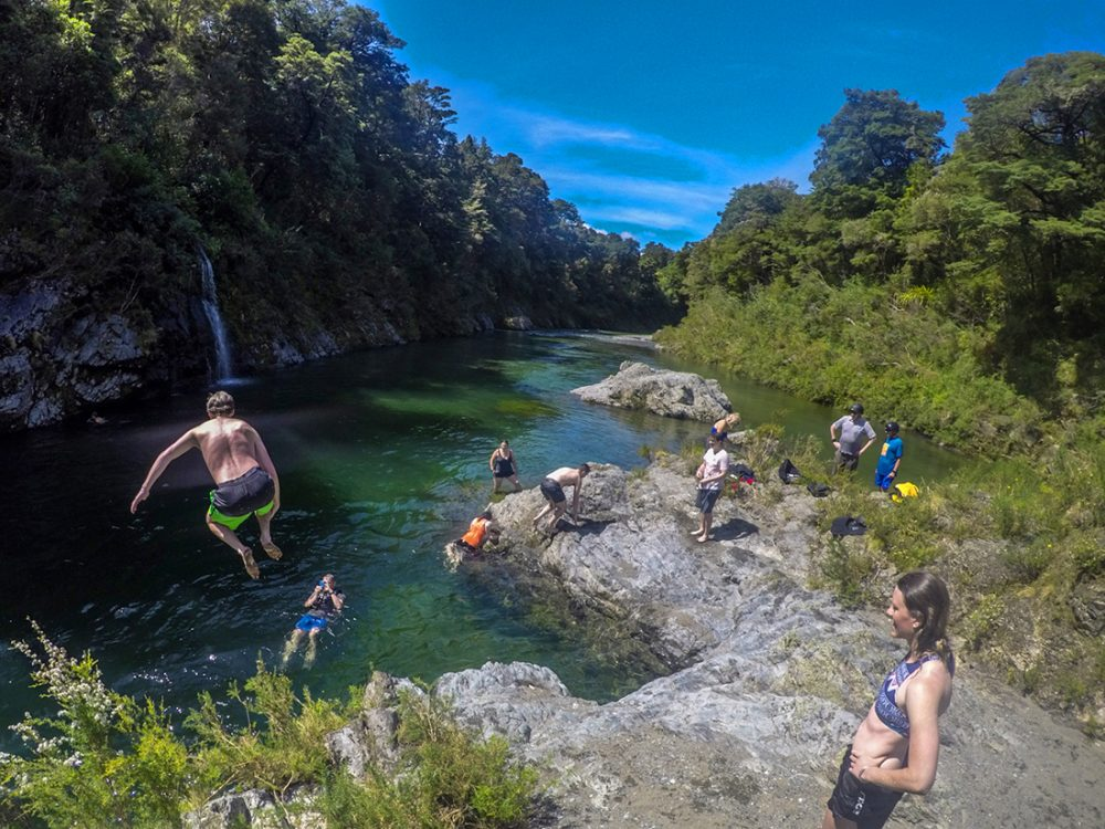 Jumping into the Pelorus River in New Zealand