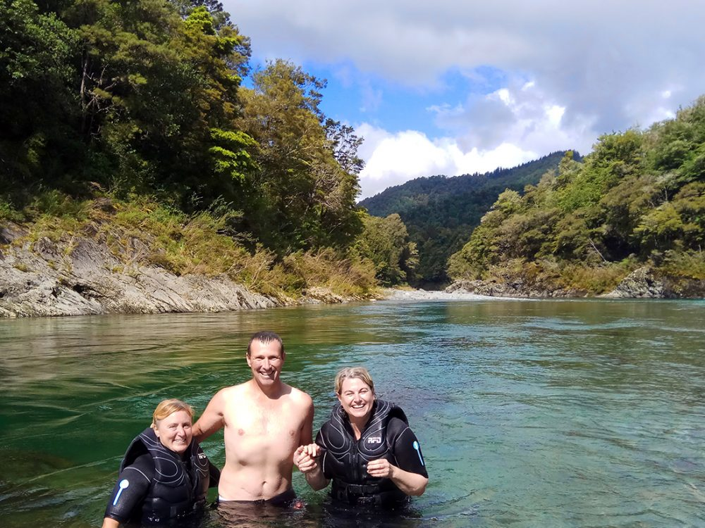 Shane and Ladies Bathing in the Pelorus River, NZ