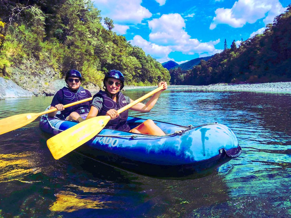 Couple Kayaking Pelorus River NZ