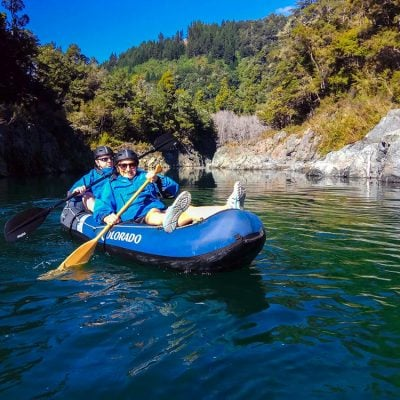 Couple Kayaking Pelorus River New Zealand