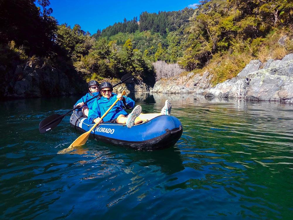 Couple Kayaking Pelorus River New Zealand