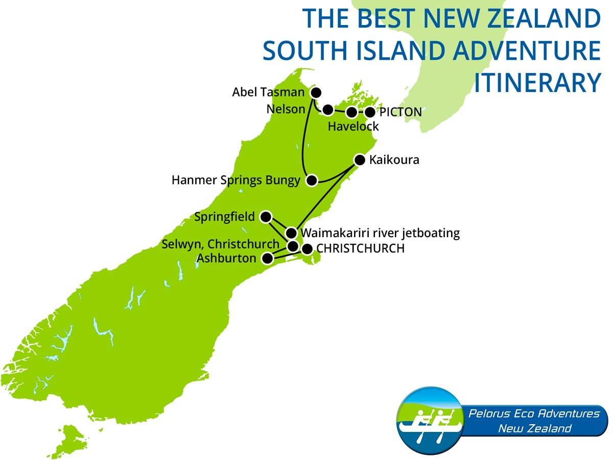 New Zealand South Island Adventure Itinerary Map