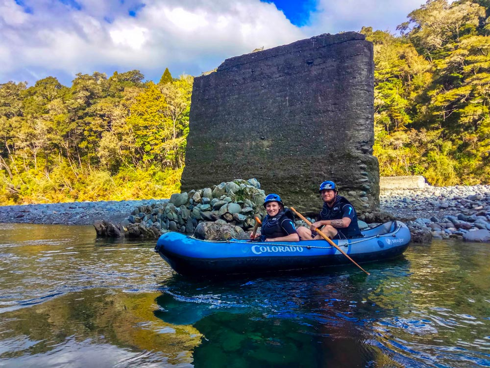 Couple experiencing the Hobbit Kayak Tour, NZ