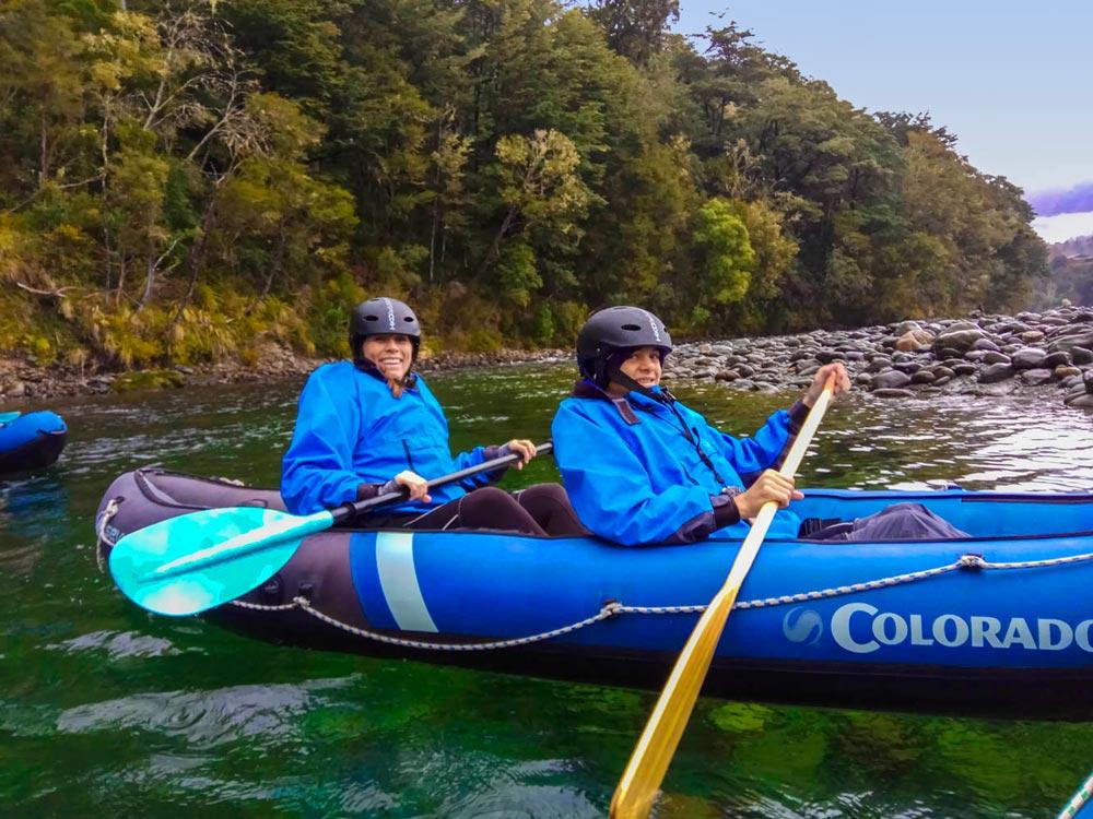 Family Kayaking New Zealand River