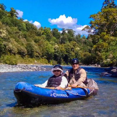 Happy couple kayaking the Pelorus River