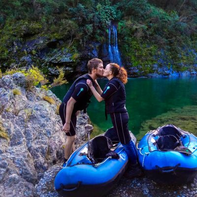 Loving couple at the Pelorus River