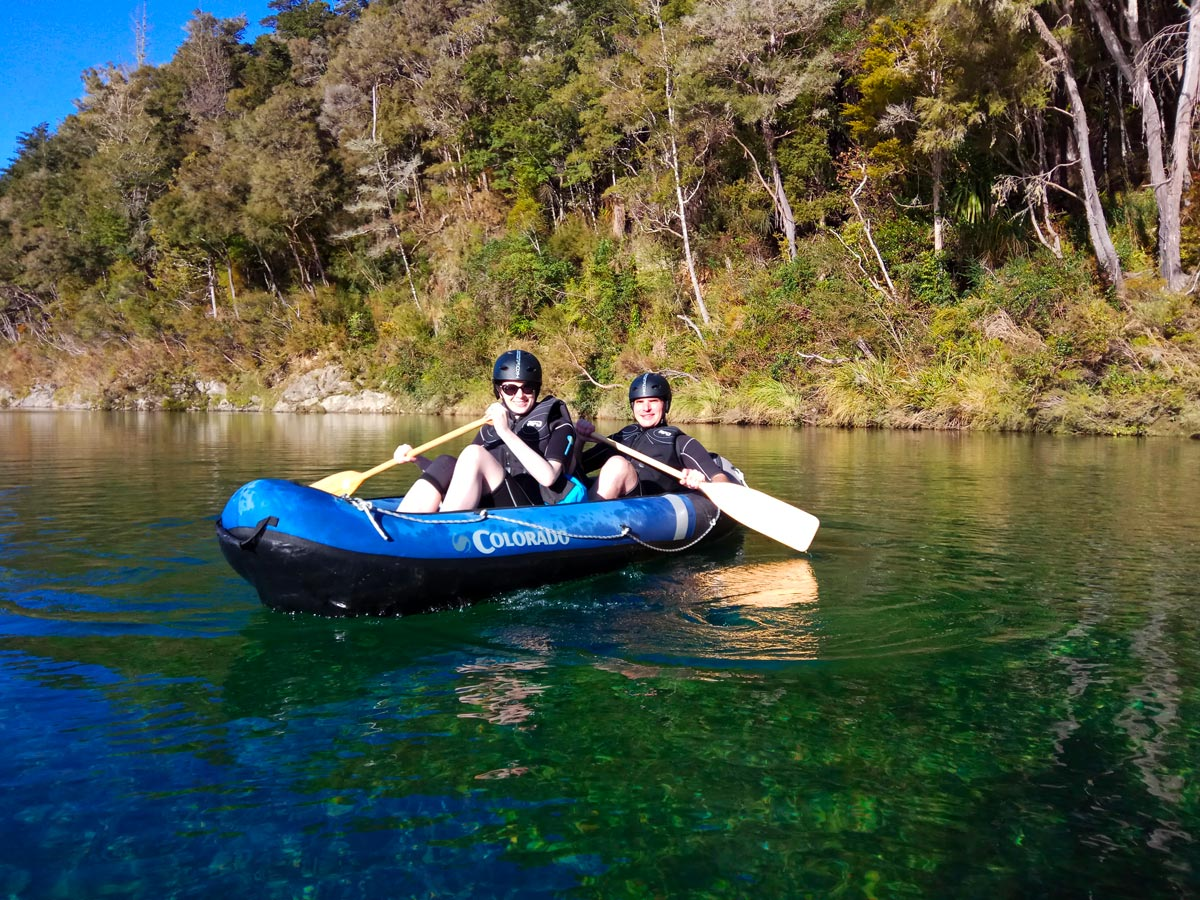Couple Kayaking the Pelorus River in New Zealand