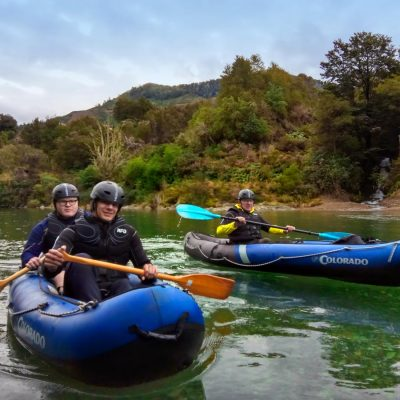 Group Kayaking the Pelorus River in New Zealand