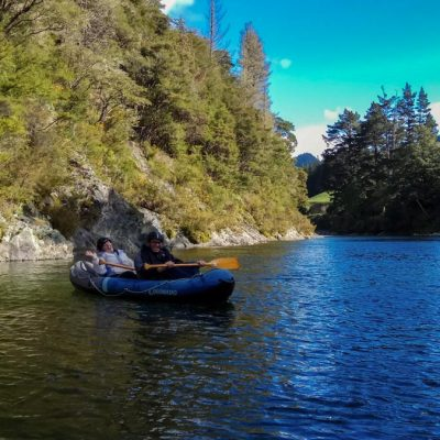Couple have fun at the Pelorus River, NZ