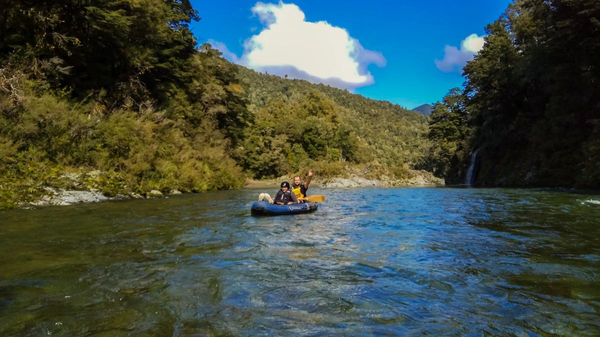 Dad and Son Kayaking on the Pelorus River