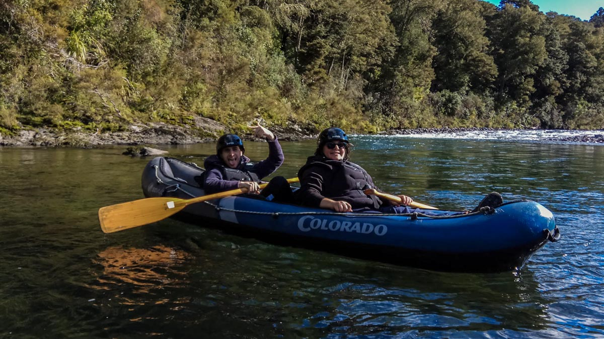 Friends Kayaking on the Pelorus River, NZ
