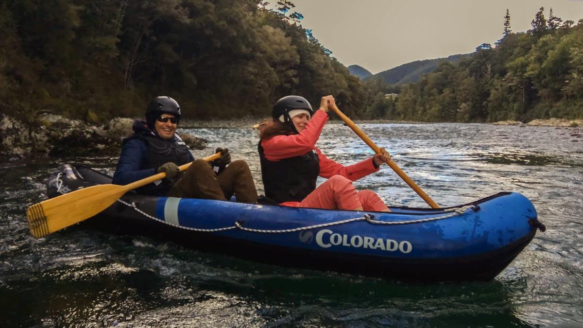 Happy couple Kayaking in NZ