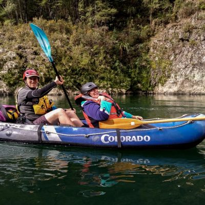 Shane our guide and a guest kayaking on the Pelorus River