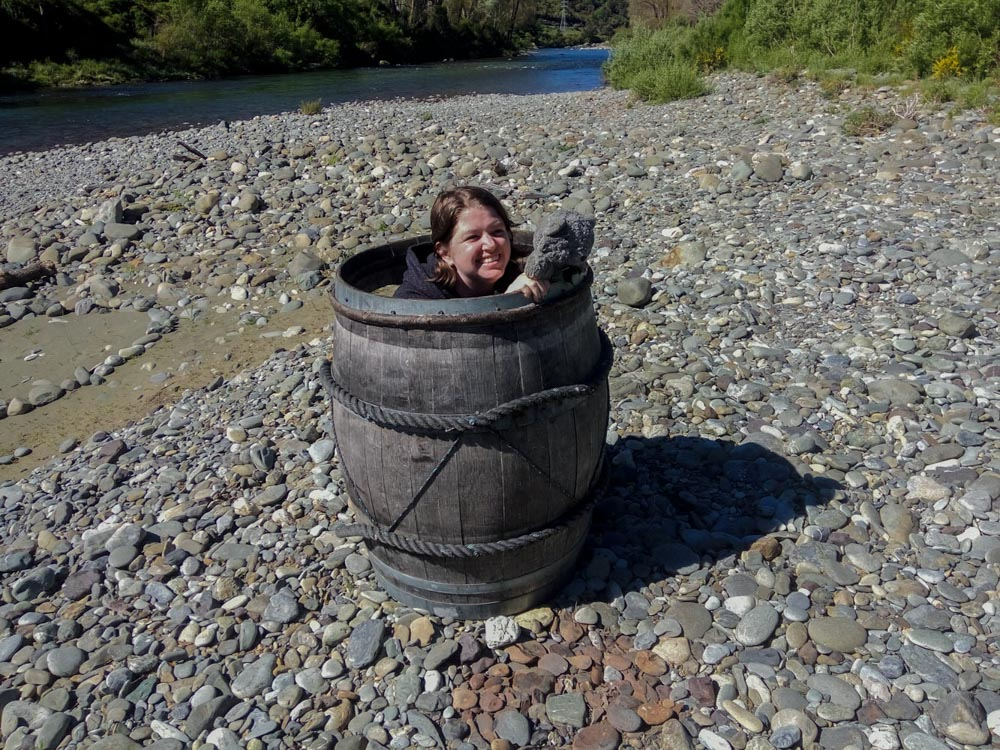 Barrel at the Pelorus River in New Zealand