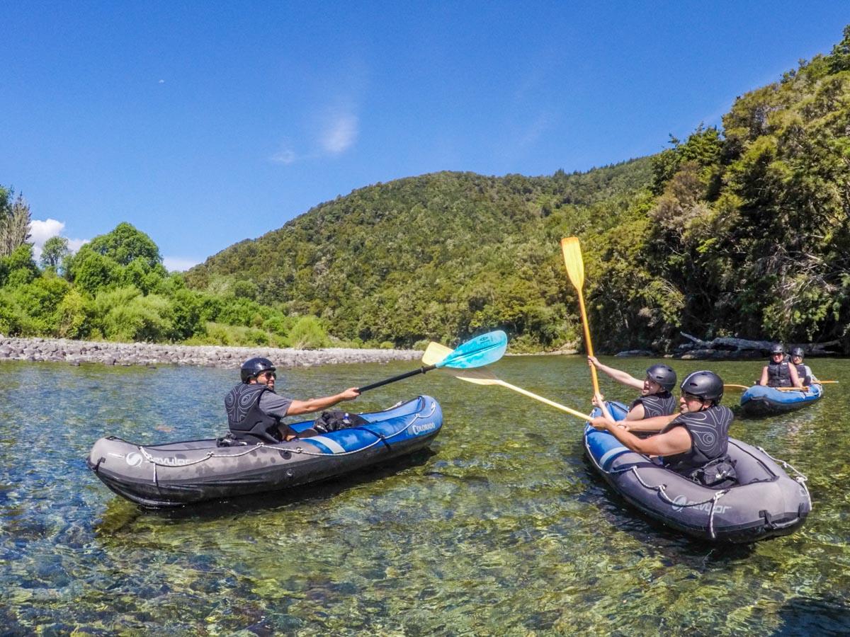 Kayakers Playing at Pelorus River