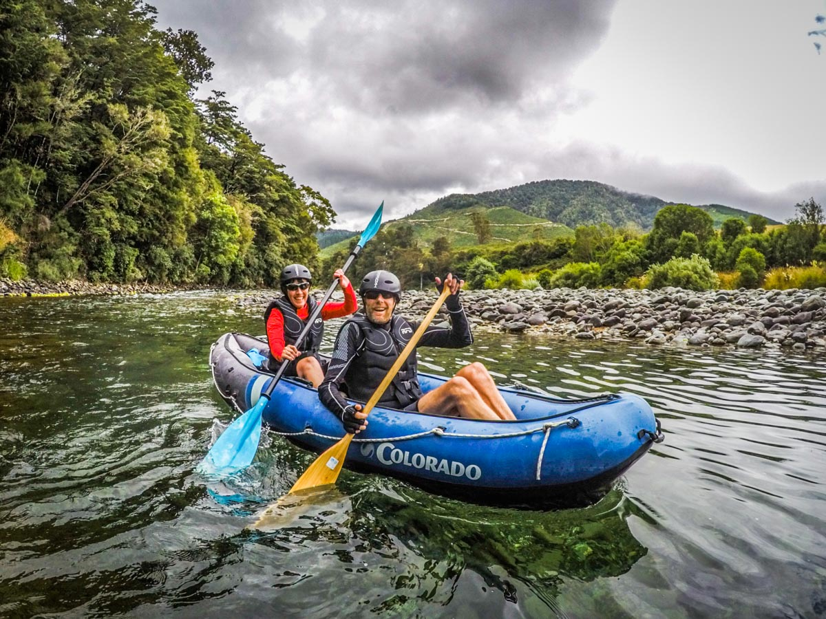 Couple having Fun Kayaking the Pelorus River