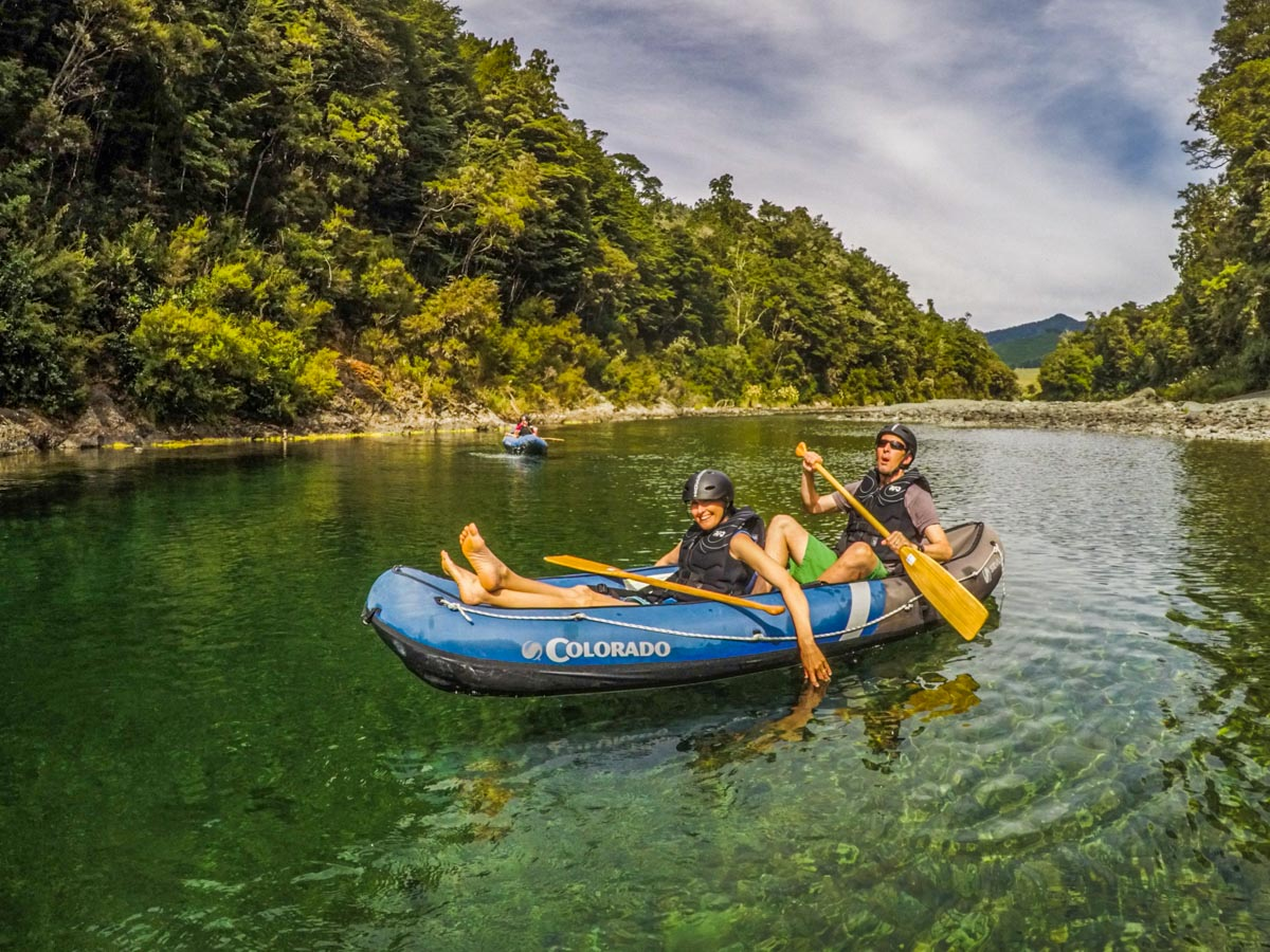 Dad and Daughter Kayaking on the Pelorus River
