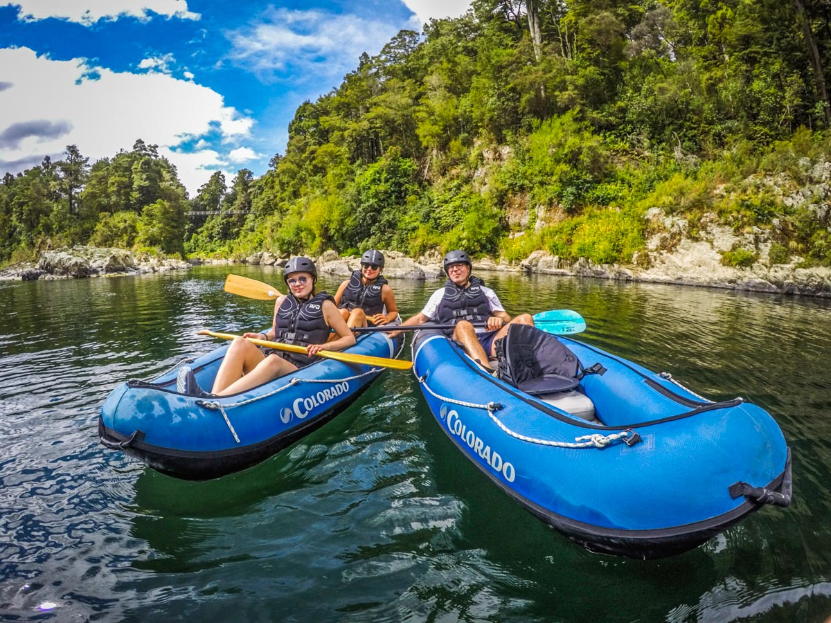 Group Kayaking at the Pelorus River, NZ