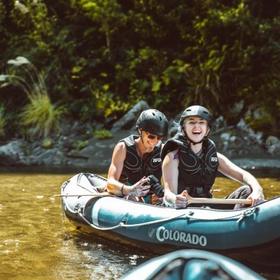 Couple Having fun while Kayaking in New Zealand