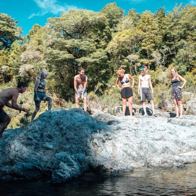 Group having fun at the Pelorus River