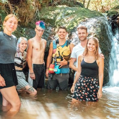 Group at a natural pool, Pelorus River
