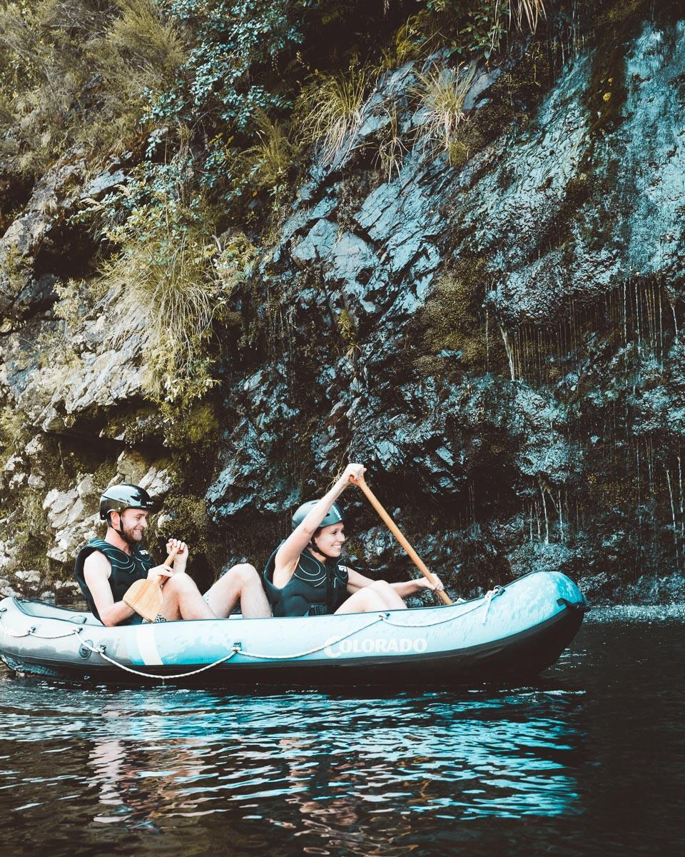 Kayaking close to Falls at the Pelorus River