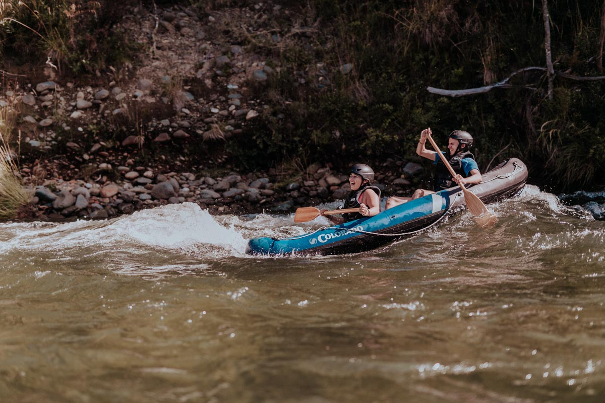 Having fun while Kayaking rapids at the Pelorus River