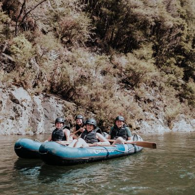Group of friends Kayaking in NZ