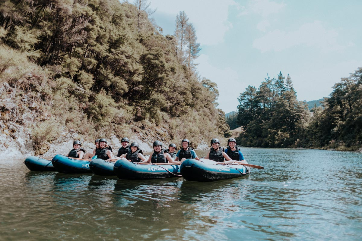 Group of Kayakers posing at the Pelorus River