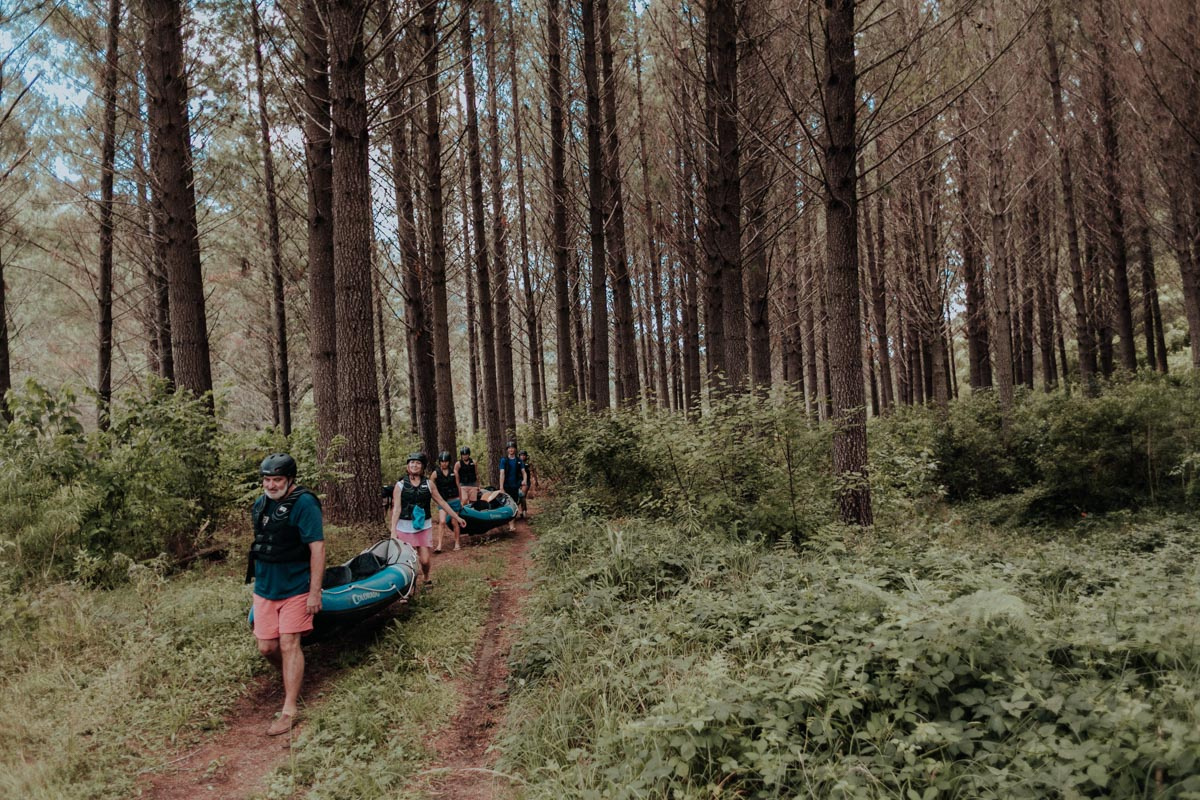 Group walking to the Kayaking spot, Havelock