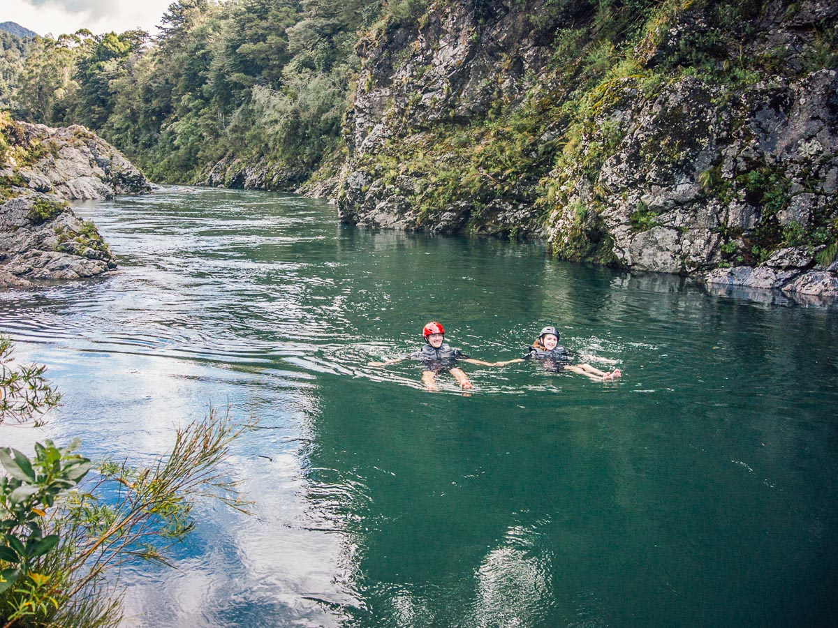 Swim at the Pelorus River in New Zealand