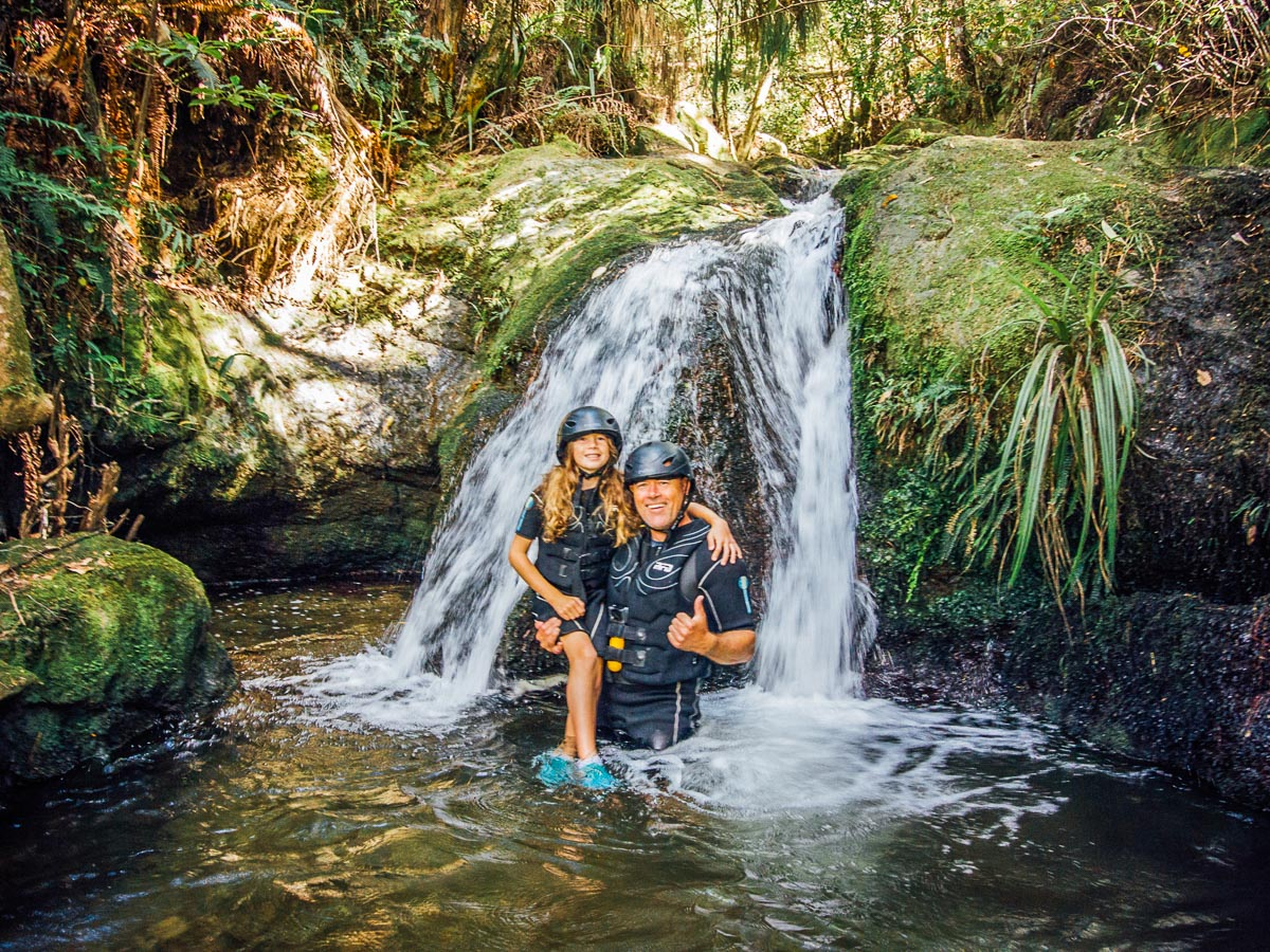 Dad and Daughter at a Natural Pool in Havelock