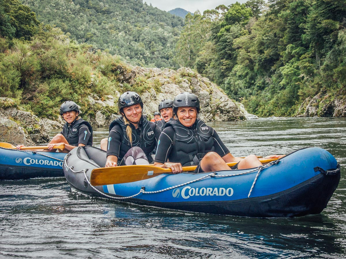 Friends Kayaking at the Pelorus River, New Zealand