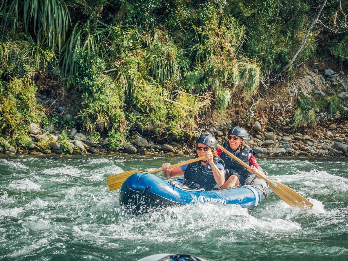 Happy Ladies Kayaking in New Zealand