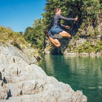 Jumping to Pelorus River, New Zealand