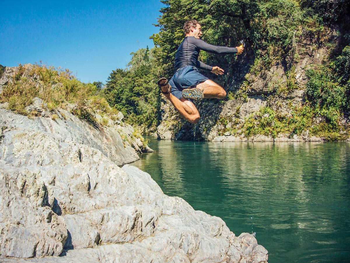Jumping to Pelorus River, New Zealand