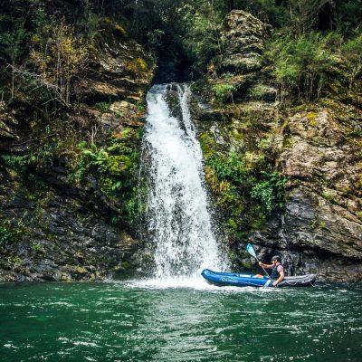 Kayaking close to Pelorus River Falls
