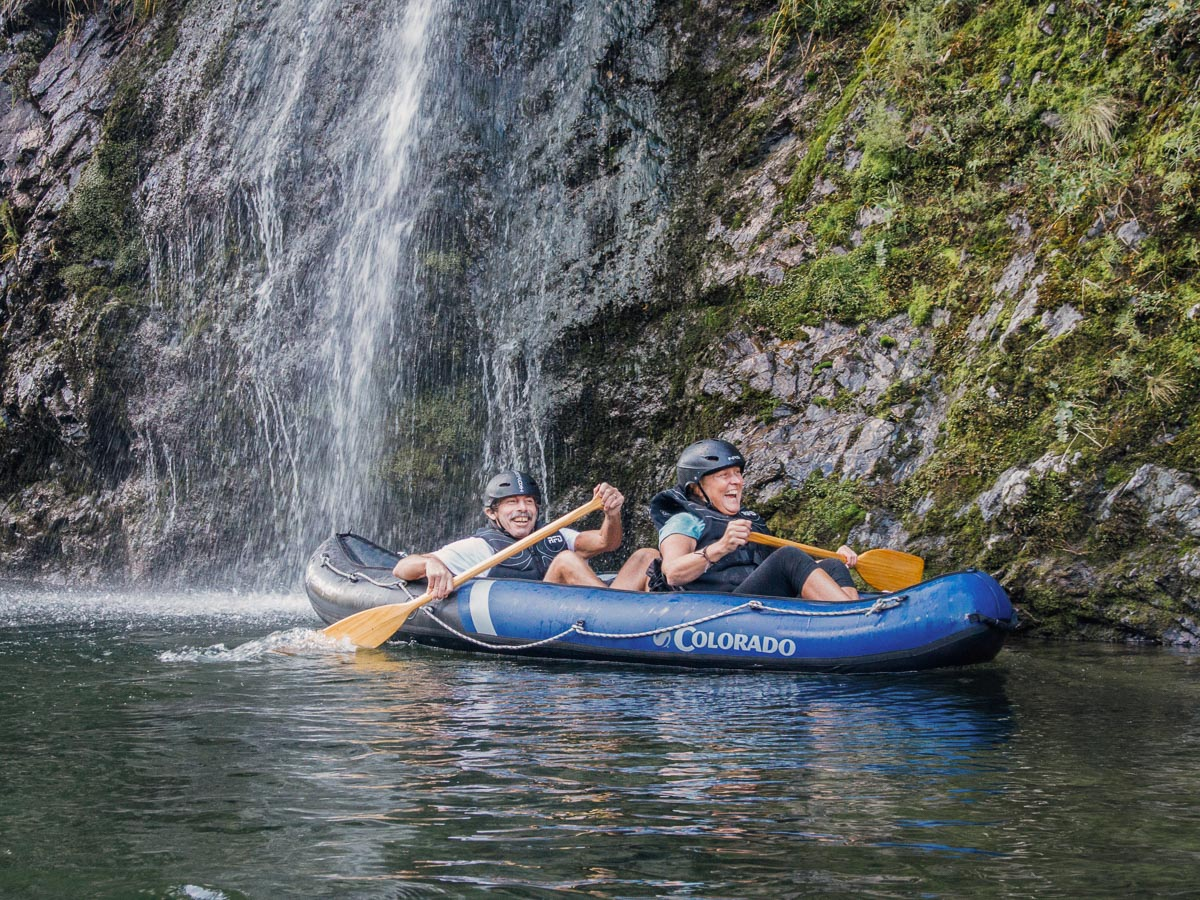 Couple kayaking close to Pelorus river falls