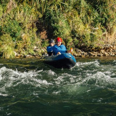 Couple kayaking the Pelorus river, Havelock