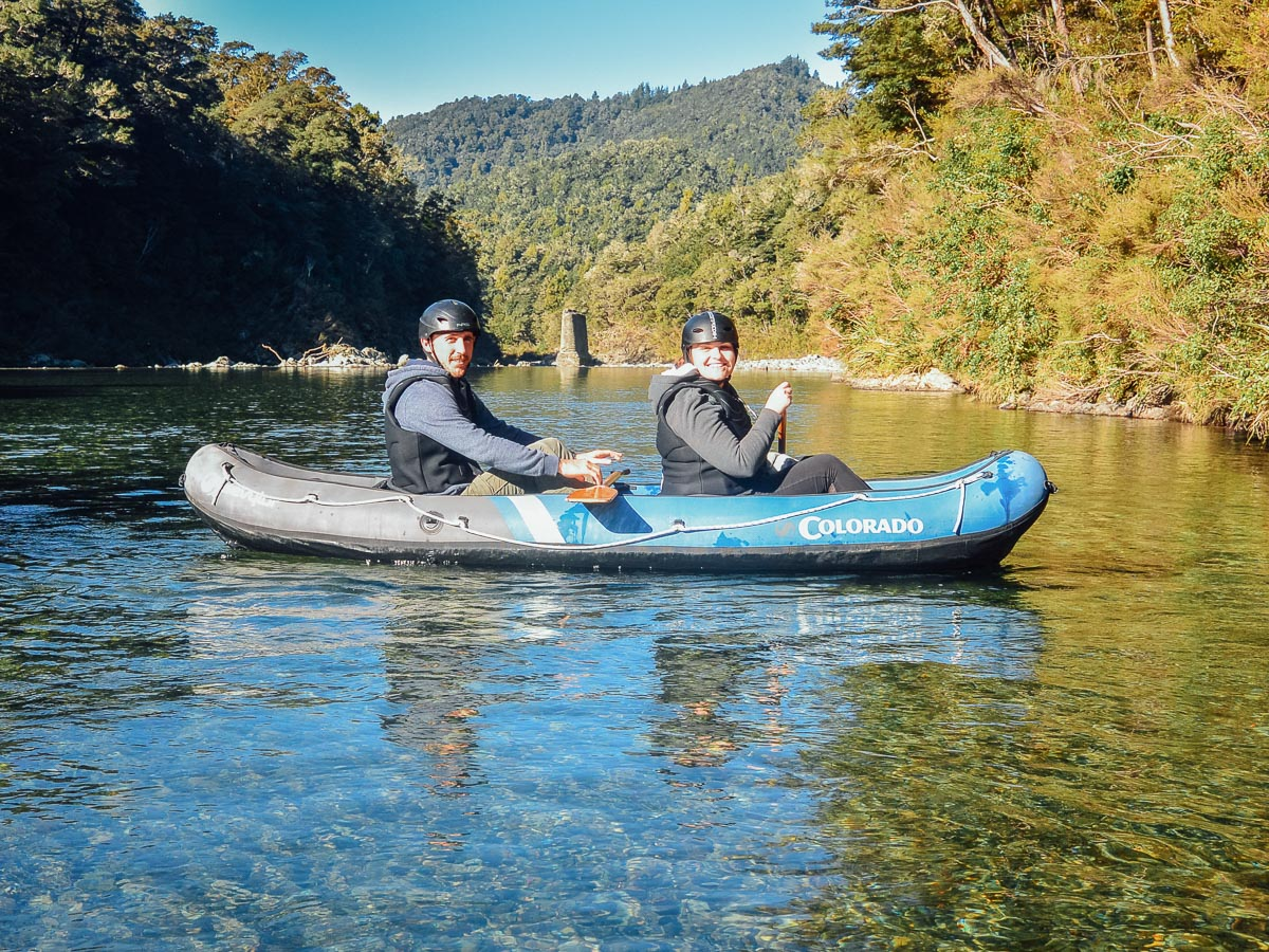 Couple kayaking at Pelorus river, Havelock, NZ