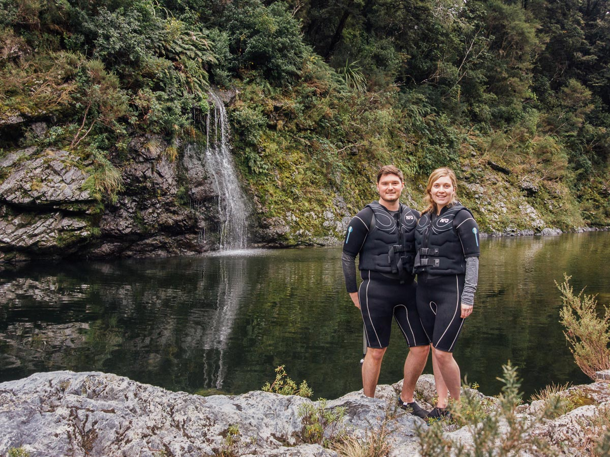 Couple at the pelorus river falls, NZ
