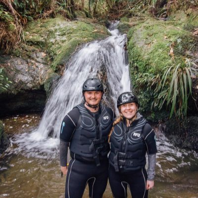 Couple at a Pelorus river's natural pool