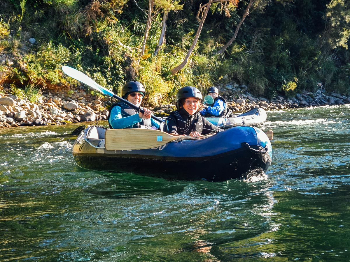 Family kayaking at the Pelorus river, NZ