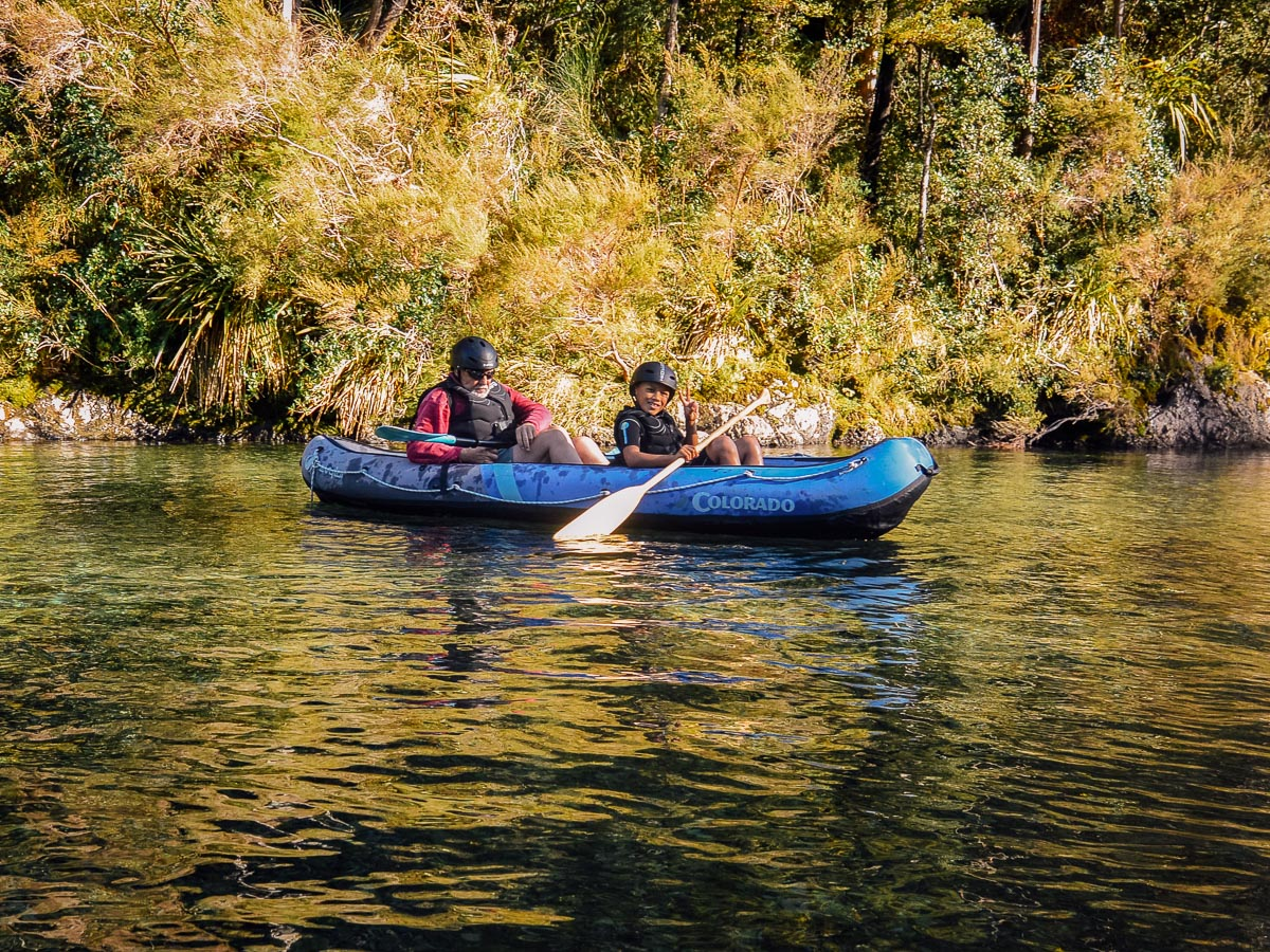Family kayaking at the Pelorus river
