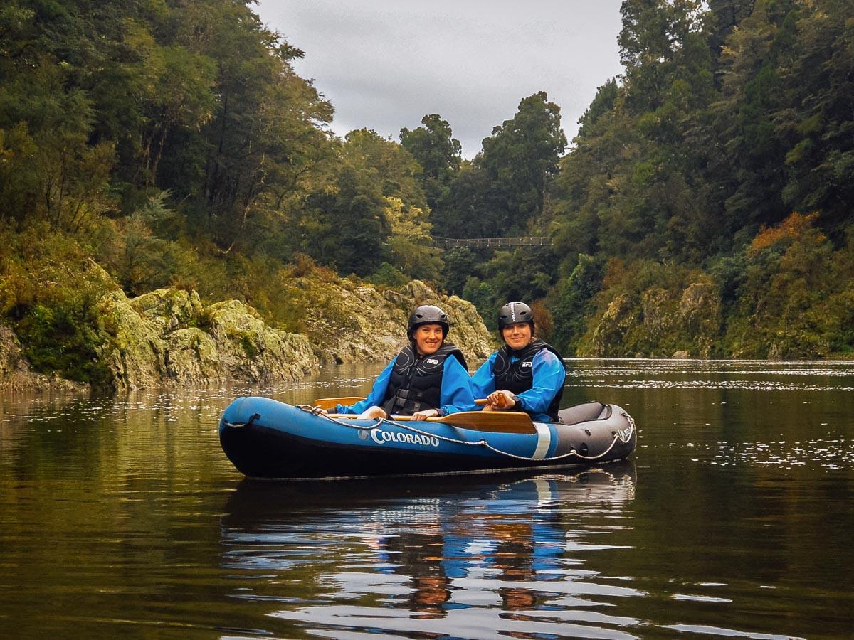 Friends posing at the Pelorus river