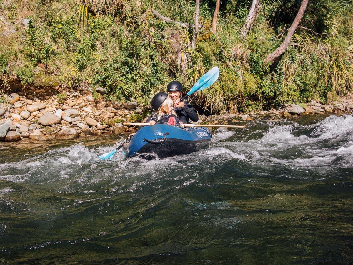 Girls kayaking in New Zealand