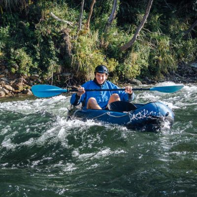 Happy kayaker in New Zealand